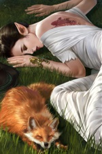 Fantasy girl and fox sleep in the grass