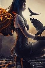 미리보기 iPhone 배경 화면 판타지 소녀, 타락한 천사, 날개, 불, 까마귀
