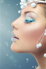 Preview iPhone wallpaper Fashion girl, makeup, close eyes, decoration, light