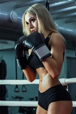 Fitness girl, blonde, boxing training