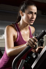 Preview iPhone wallpaper Fitness girl, purple dress, sweat