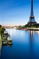 Preview iPhone wallpaper France, Paris, Eiffel Tower, road, river, boat, lights, night