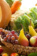 Fruits and vegetables, garnets, pears, apples, grapes, carrots, pumpkin, cabbage