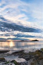 Preview iPhone wallpaper Galiano Island, sunset, clouds, trees, sea, coast, British