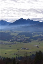 Preview iPhone wallpaper Germany, Bavaria, Zugspitze, mountains, trees, town, clouds, morning