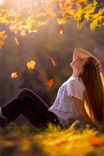 Preview iPhone wallpaper Girl sit at ground, autumn, leaves, trees, grass, sun rays