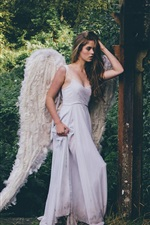 Preview iPhone wallpaper Grace Bowker, Angel girl, white dress