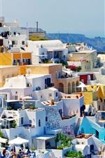Greece, houses, city, coast, sea, sunlight