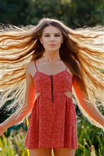 Preview iPhone wallpaper Hair flying, red dress girl