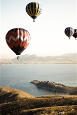 Preview iPhone wallpaper Hot air balloons, sky, sea