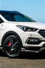 iPhone fondos de pantalla Hyundai Santa Fe blanco vista lateral SUV