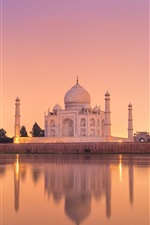Preview iPhone wallpaper India, Taj Mahal, castle, water, reflection, dusk