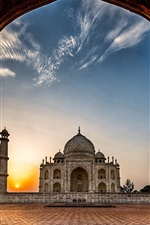 India, Taj Mahal, mosque, gate, dawn