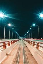 Preview iPhone wallpaper Irkutsk, Russia, city, night, bridge, road, lights