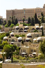Preview iPhone wallpaper Israel, Jerusalem, buildings, trees, road, city