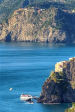 Preview iPhone wallpaper Italy, Cinque Terre, Ligurian coast, mountains, sea, rocks