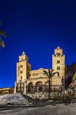 Italy, Sicily, palm trees, street, buildings, night, lights