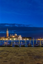 Preview iPhone wallpaper Italy, Venice, church, river, boats, buildings, lights