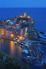 Preview iPhone wallpaper Italy, Vernazza, Cinque Terre, beautiful night view, houses, sea, lights