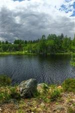 Preview iPhone wallpaper Karelia, Lake Ladoga, Kilpola island, trees, clouds, Russia