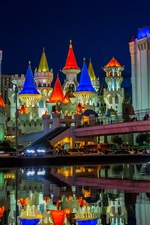 Preview iPhone wallpaper Las Vegas, Nevada, USA, city, night, castle, buildings, water, lights