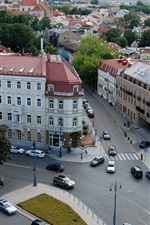 Preview iPhone wallpaper Lithuania, Vilnius, city, street, houses, traffic, top view