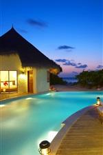 Maldivas, recurso, espreguiçadeiras, piscina, cabanas, mar, noite