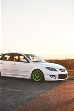 Preview iPhone wallpaper Mazda 3 white car at sunset