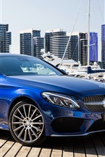 Preview iPhone wallpaper Mercedes-Benz AMG C-Class C205 blue Coupe