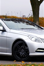 Preview iPhone wallpaper Mercedes-Benz E Class silvery convertible car side view