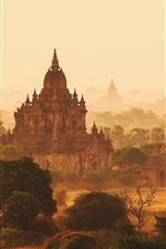 Preview iPhone wallpaper Myanmar, haze, temples, morning, trees, fog