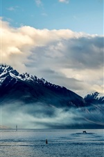 Preview iPhone wallpaper New Zealand, Queenstown, mountains, sea, coast, clouds