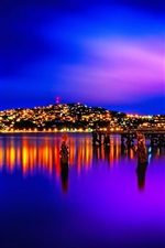 New Zealand, Wellington, city, night, lights, river, pier