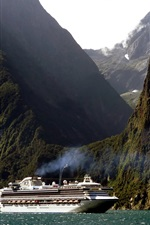 New Zealand, cruise ship, mountain, cliff, sea