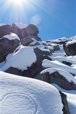 Preview iPhone wallpaper New Zealand, winter, mountains, thick snow, sun rays, love heart