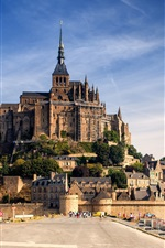 Preview iPhone wallpaper Normandy, France, castle, Mont-Saint-Michel, houses, road, sky