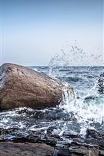 Preview iPhone wallpaper Norway, sea, stones, water splash