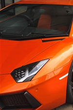 Preview iPhone wallpaper Orange Lamborghini sports car