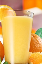 Preview iPhone wallpaper Orange juice, glass cup, drinks, oranges