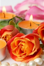 Preview iPhone wallpaper Orange roses and candles, jewelry
