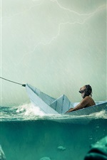Preview iPhone wallpaper Paper boat, big fish, sea, rain, people, creative picture