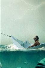 미리보기 iPhone 배경 화면 종이 보트, 큰 물고기, 바다, 비, 사람들, 창조적 인 그림