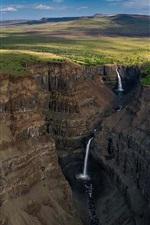 Preview iPhone wallpaper Putorana Plateau, Siberia, Russia, canyon, waterfall, clouds