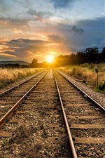 Preview iPhone wallpaper Railroad, sunset, grass