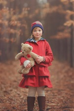 Red clothes little girl, child, teddy bear, autumn, forest