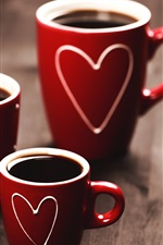 Preview iPhone wallpaper Red cups, coffee, love hearts