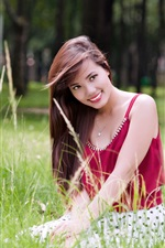 Preview iPhone wallpaper Red dress Asian girl, smile, grass, summer