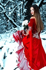 Preview iPhone wallpaper Red dress girl in winter, look back, rose, snow