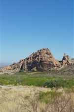 Preview iPhone wallpaper Rocks mountains, grass, road, nature landscape, New Mexico, USA