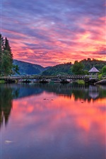 Preview iPhone wallpaper Rogaland, Norway, river, bridge, houses, morning, dawn, clouds
